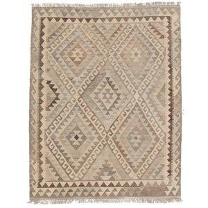 200x155 cm Handgewebt afghanisch Kelim Orientteppich Braun Wolle