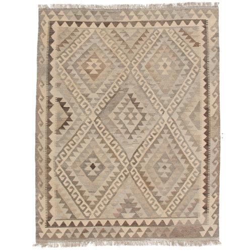 200x155 cm Handmade Afghan Kilim Rug Neutral Color Wool Carpet