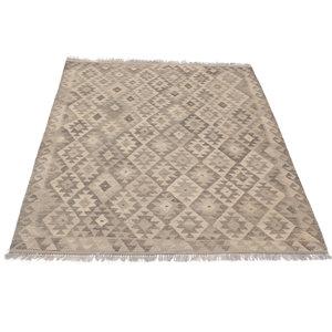 194x151 cm Handgewebt afghanisch Kelim Orientteppich Braun Wolle
