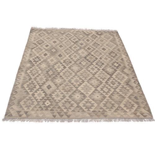 194x151 cm Handmade Afghan Kilim Rug Neutral Color Wool Carpet