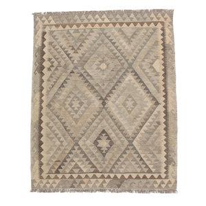198x154 cm Handgemaakt Wollen Kelim Tapijt Neutrale Kleur Vloerkleed