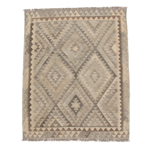 198x154 cm Handmade Afghan Kilim Rug Neutral Color Wool Carpet