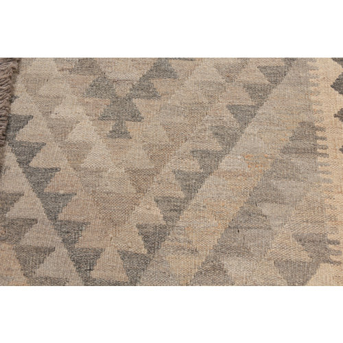 198x154 cm Handgewebt afghanisch Kelim Orientteppich Braun Wolle