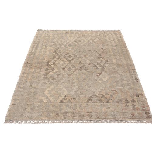 200x148 cm Handgewebt afghanisch Kelim Orientteppich Braun Wolle