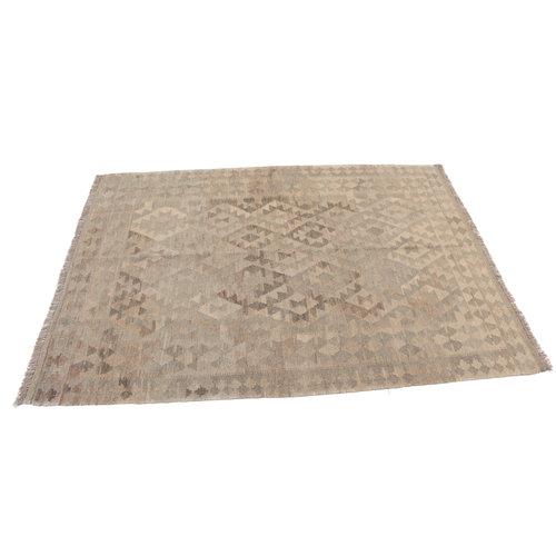 200x148 cm Handmade Afghan Kilim Rug Neutral Color Wool Carpet