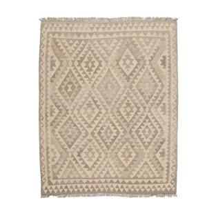 193x153 cm Handgemaakt Wollen Kelim Tapijt Neutrale Kleur Vloerkleed