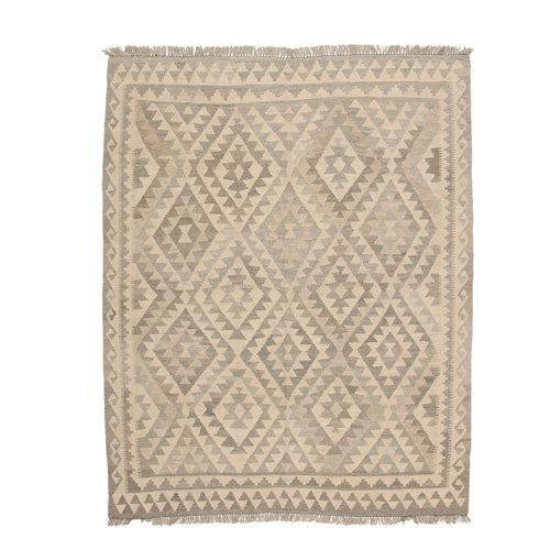 193x153 cm Handmade Afghan Kilim Rug Neutral Color Wool Carpet
