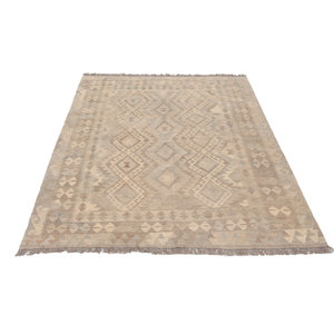 196x151 cm Handgewebt afghanisch Kelim Orientteppich Braun Wolle