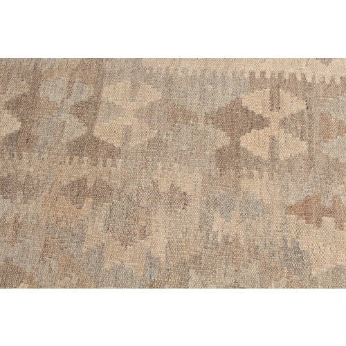 196x151 cm Handmade Afghan Kilim Rug Neutral Color Wool Carpet