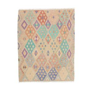 200x151 cm Handgewebt afghanisch Kelim Orientteppich Braun Wolle