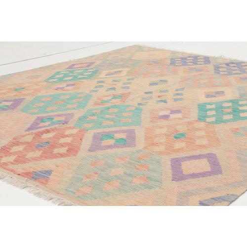 200x151 cm Handmade Afghan Kilim Rug Neutral Color Wool Carpet