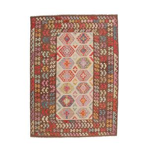 296x200 cm Handmade Afghan Kilim Rug Neutral Color Wool Carpet