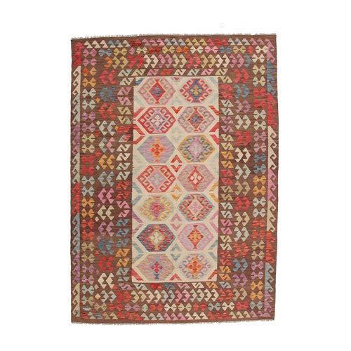 296x200 cm Handmade Afghan Kilim Rug Neutral Color Wool Carpet