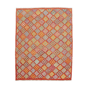199x156 cm Handgemaakt Wollen Kelim Tapijt Neutrale Kleur Vloerkleed