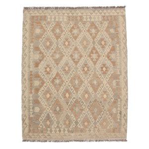 197x154 cm Handmade Afghan Kilim Rug Brown Wool Carpet