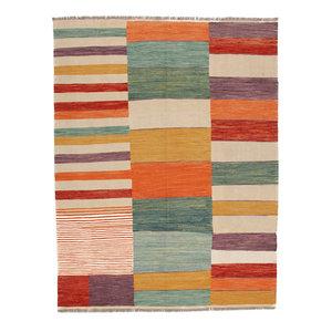 8'6x6'5 cm Handmade Modern Striped Kilim Area Rug Wool Carpet