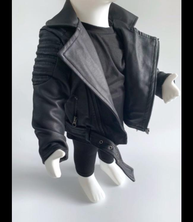 Leather jacket | Zwart