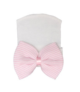 Newborn muts | Wit met roze strik