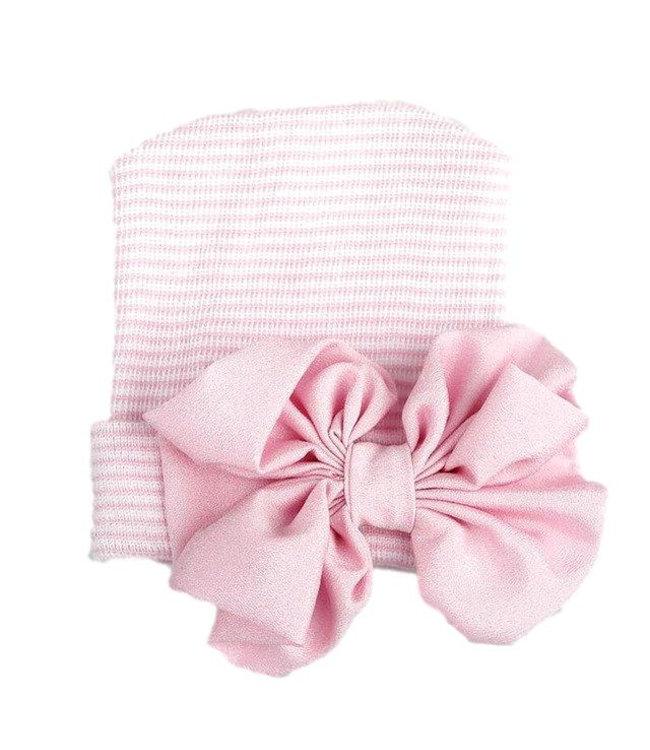 Newborn muts | Roze gestreept met strik