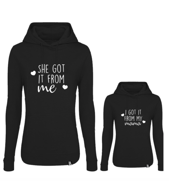 TWINNING HOODIES | BLACK EDITION - SHE GOT IT FROM ME