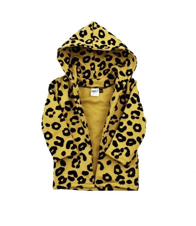 Hoodie vest   leopard ochre