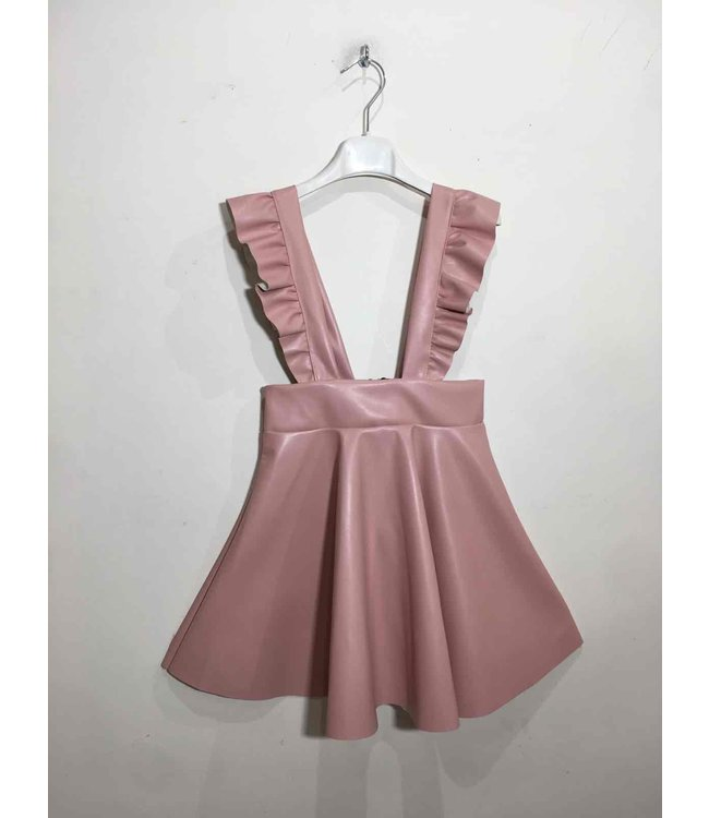 Leather suspender skirt : Pink
