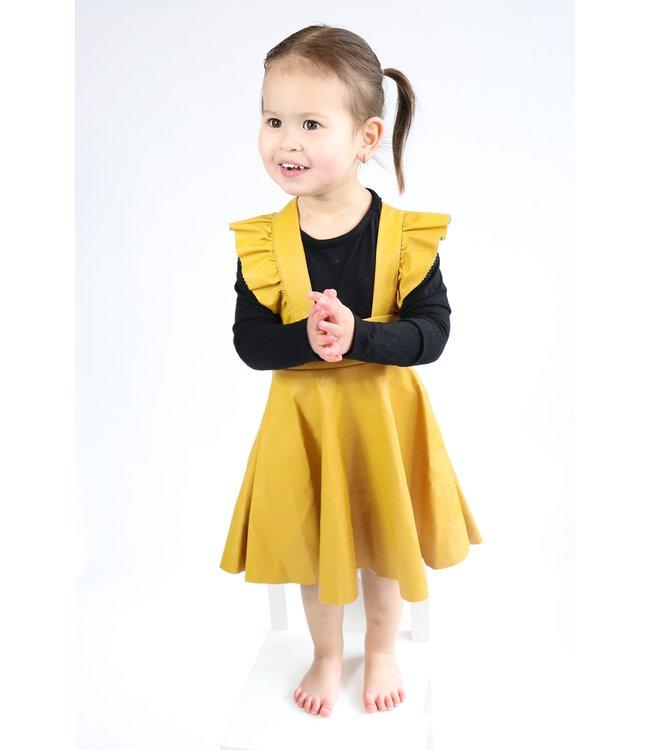 Leather suspender skirt : mosterd