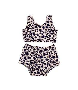 Exclusieve Baby Highwaist Bikini | Leopard Bluish Purple | Handmade