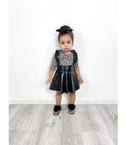 Leather suspender skirt : black
