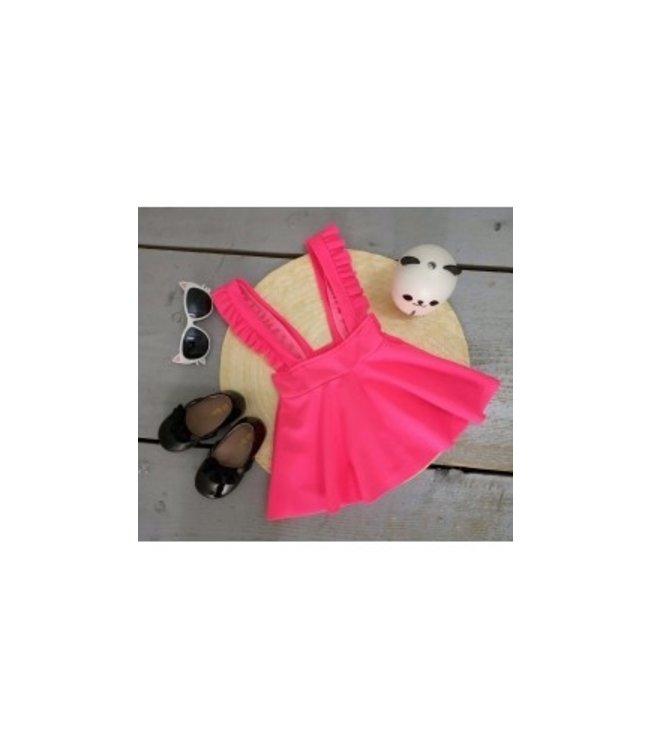Suspender skirt stof | Vel roze