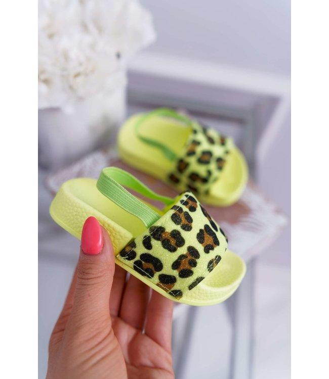 Leopard neon slippers