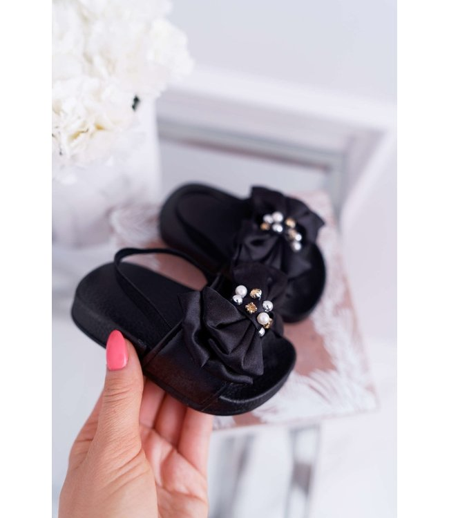 Bow slippers | Zwart