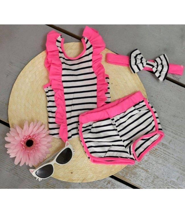 Ruffle stripe set | Neon roze