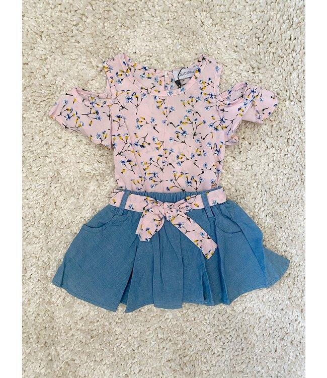 Flower skirt set | Roze