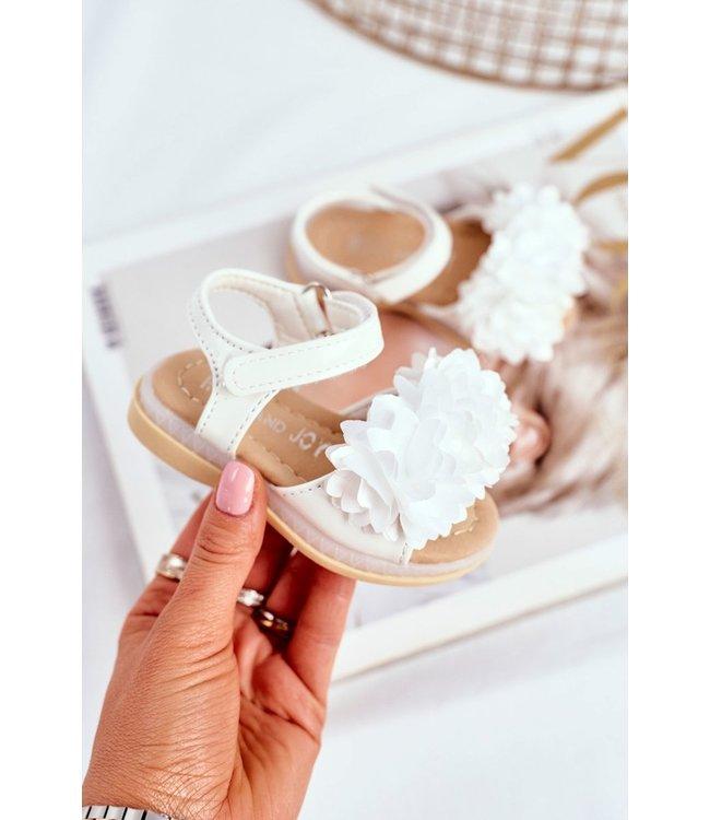 Light flower sandals | Wit