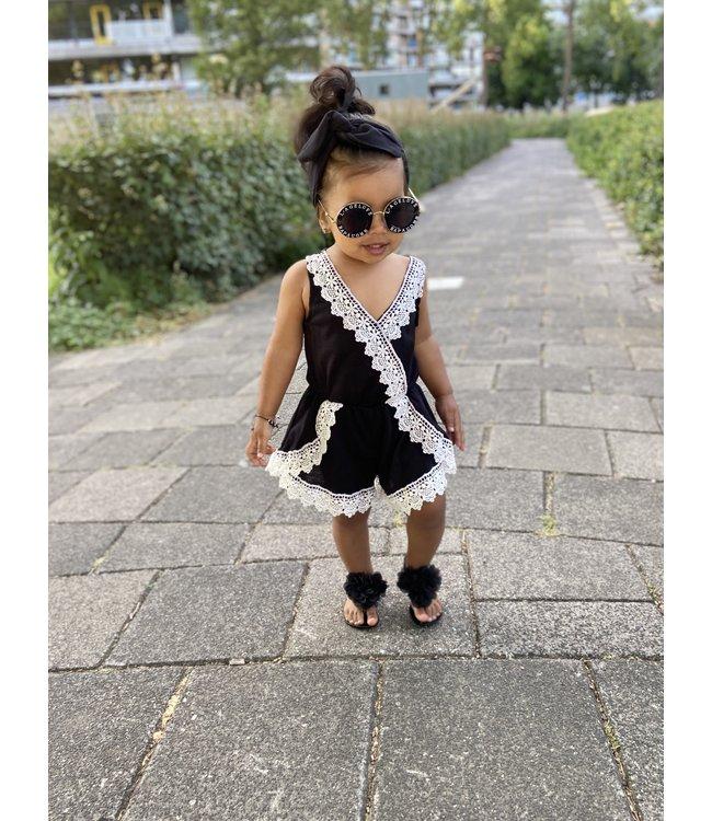 Cute jumpsuit incl haarbandje  : Zwart