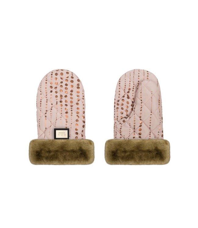Luxe roze met gouden stippen handschoenen Bjällra of Sweden