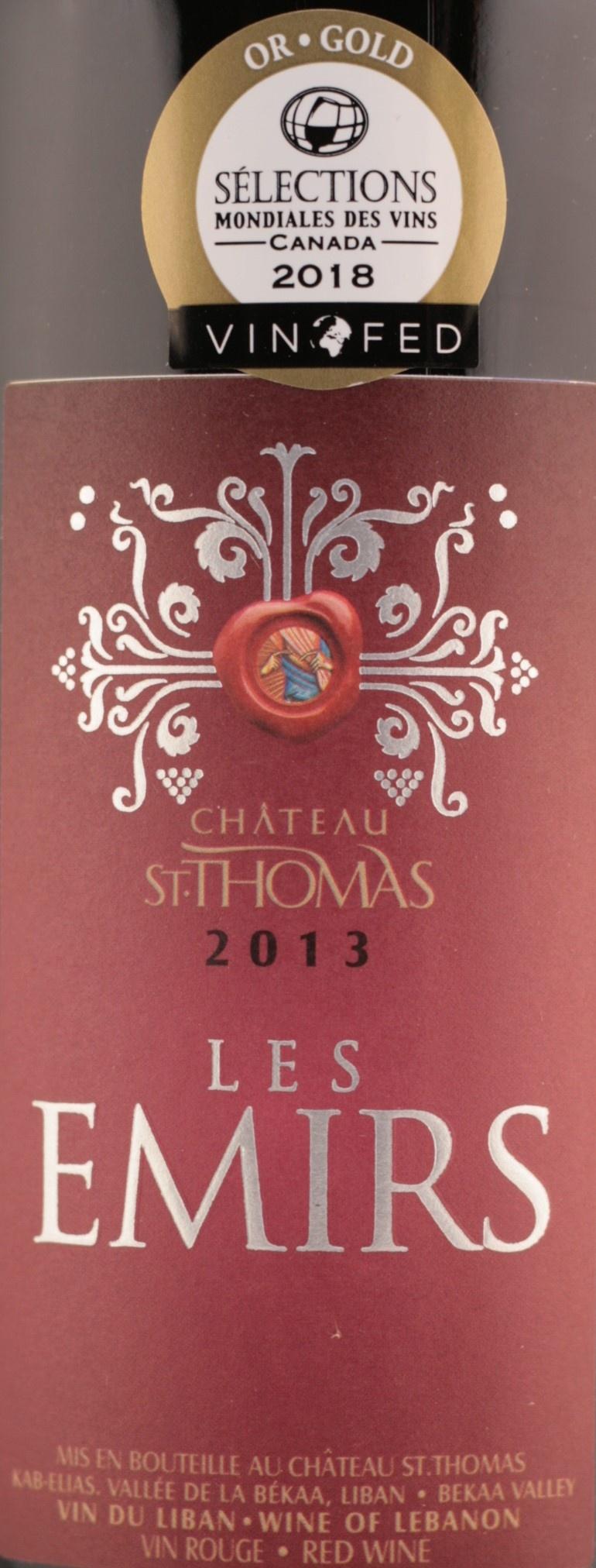 Les Emirs Rouge | Chateau St. Thomas | 2013
