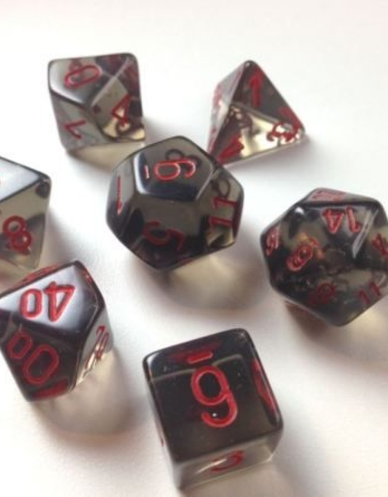 Chessex Chessex 7-Die set Translucent - Smoke/Red