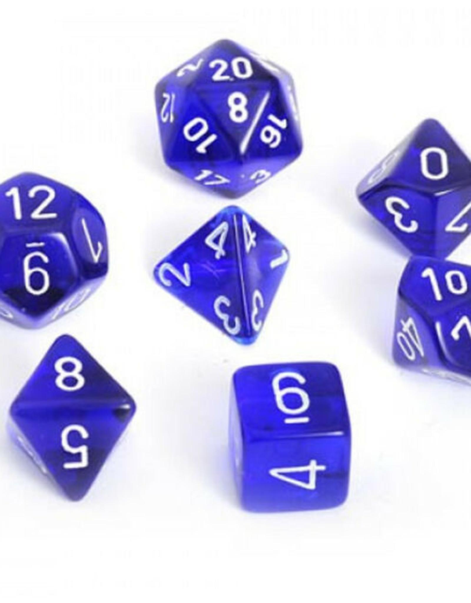 Chessex Chessex 7-Die set Translucent - Blue/White