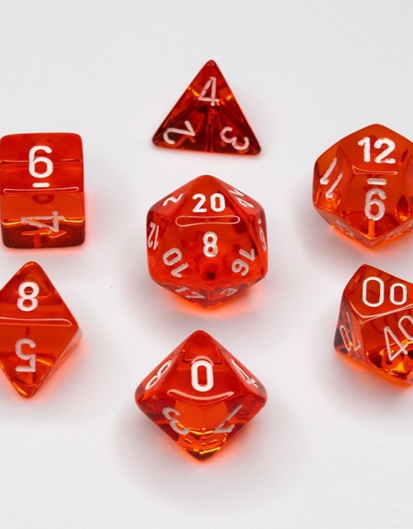 Chessex Chessex 7-Die set Translucent - Orange/White