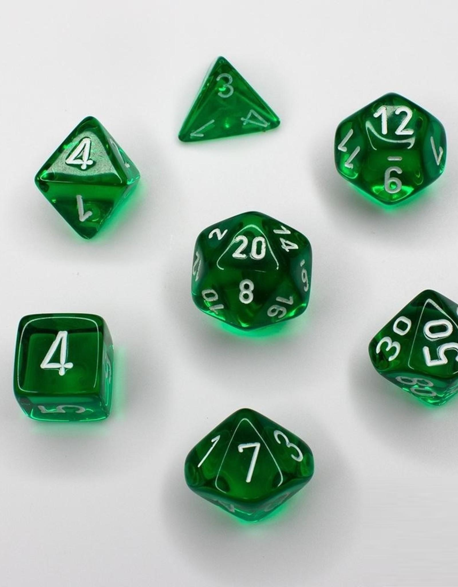 Chessex Chessex 7-Die set Translucent - Green/White