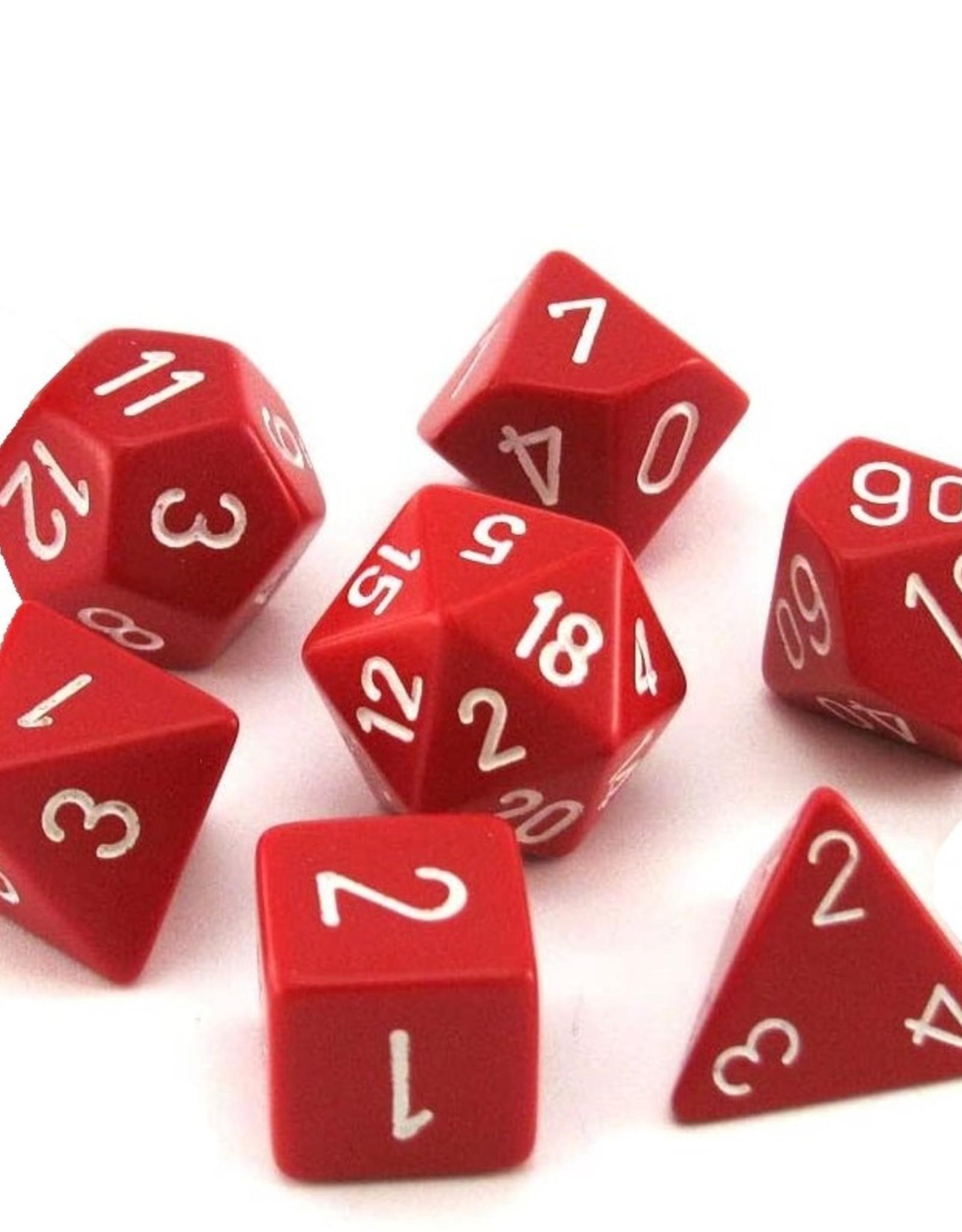 Chessex Chessex 7-Die set Opaque - Red/White