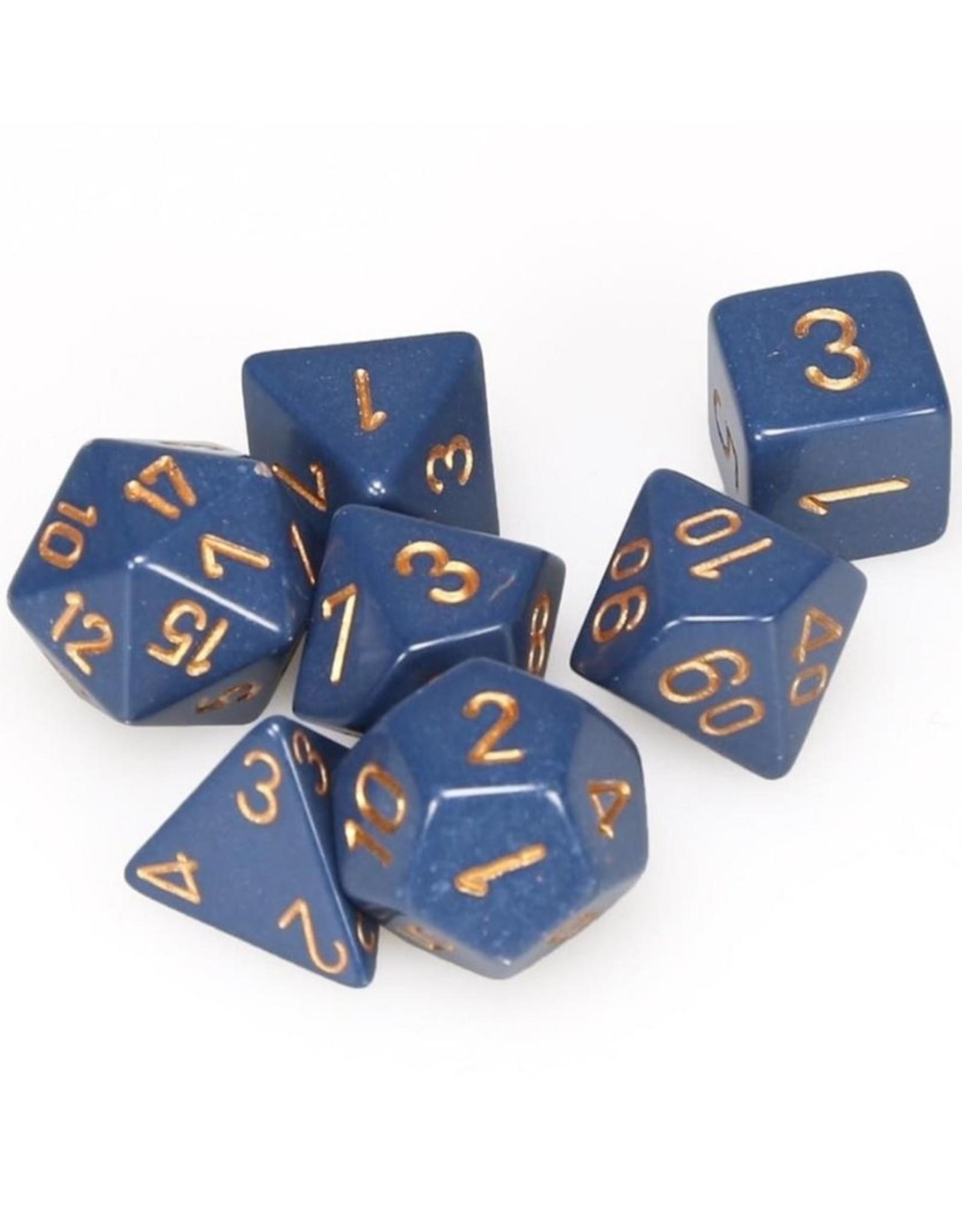 Chessex Chessex 7-Die set Opaque - Dusty Blue/Copper