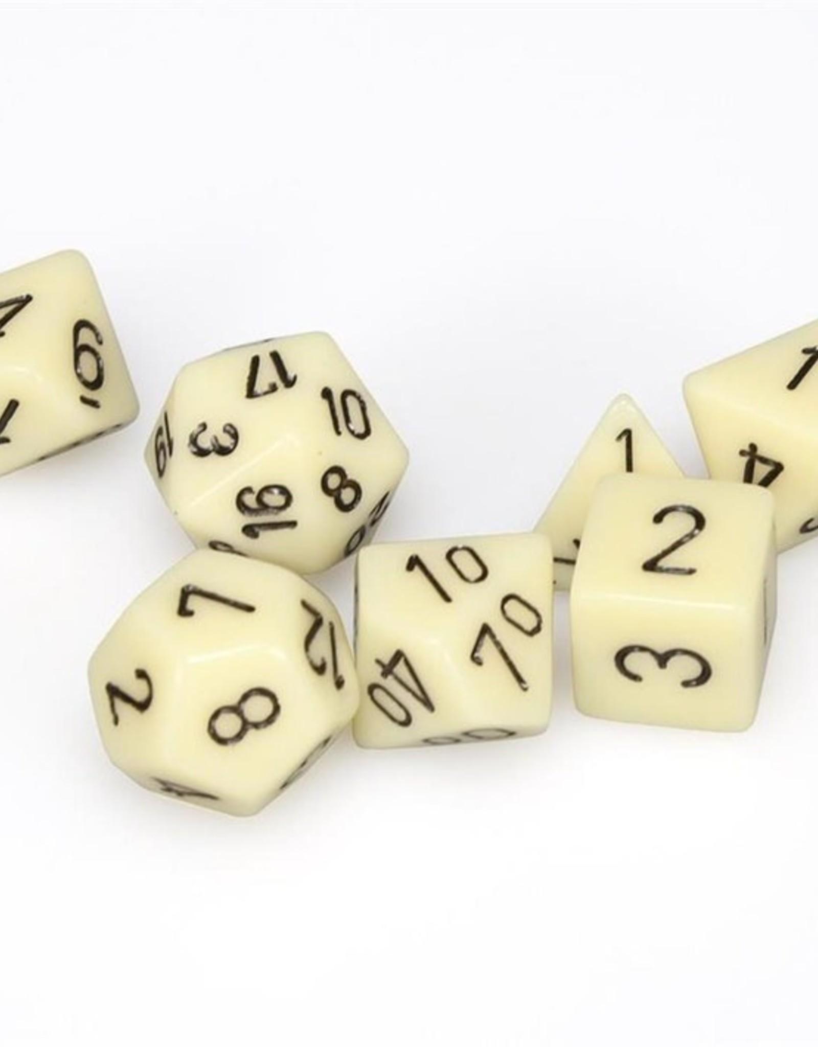 Chessex Chessex 7-Die set Opaque - Ivory-Black