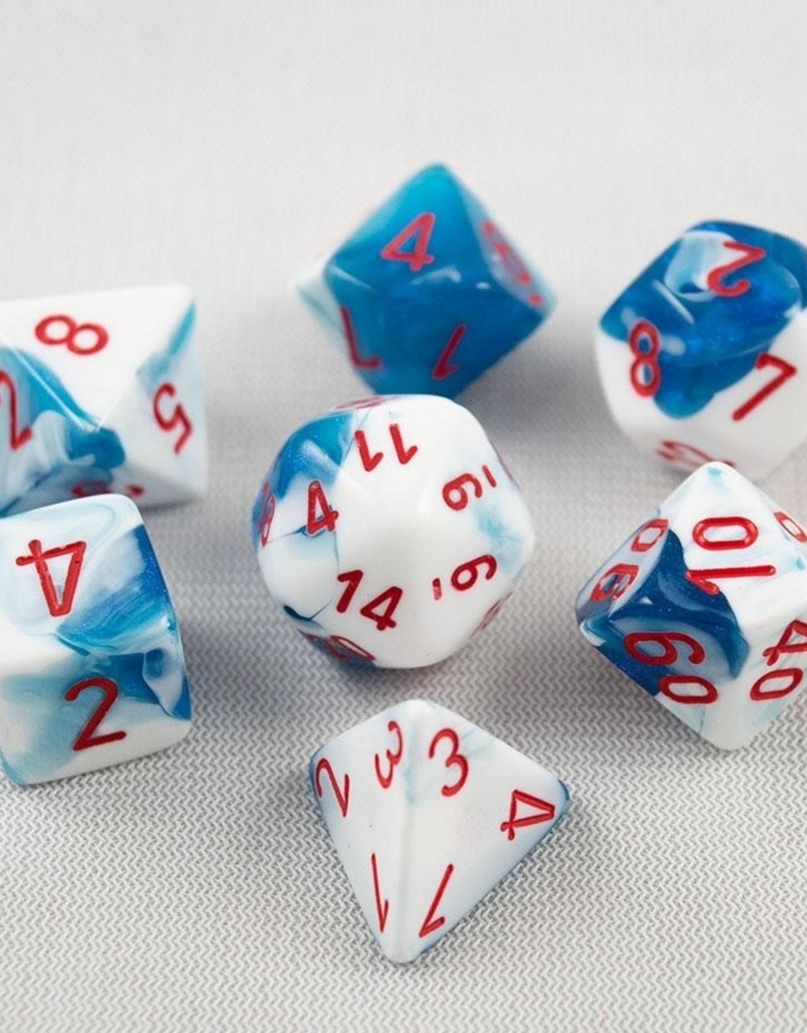 Chessex Chessex 7-Die set Gemini - Astral Blue-White/Red
