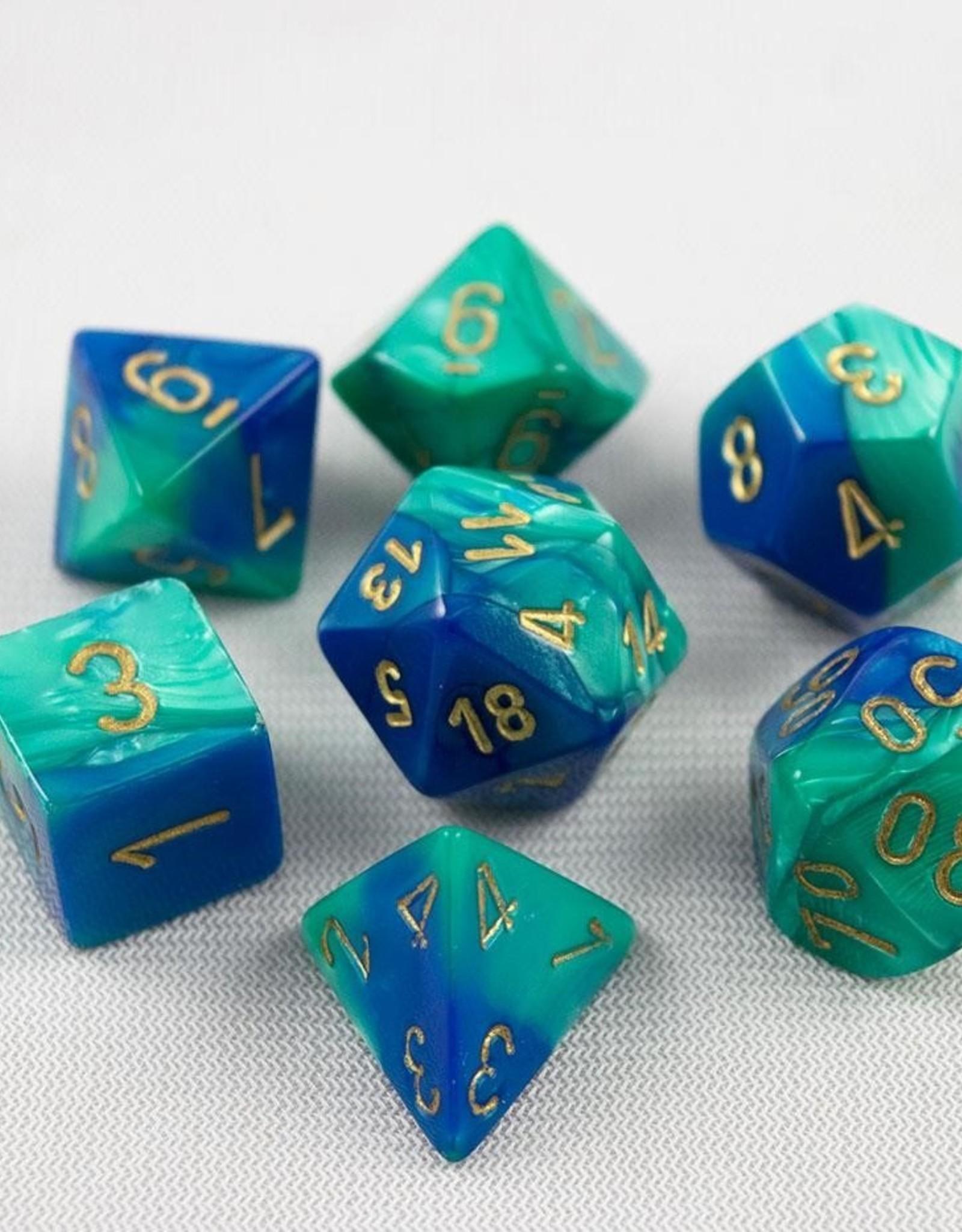 Chessex Chessex 7-Die set Gemini - Blue-Teal/Gold