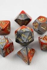 Chessex Chessex 7-Die set Gemini - Orange-Steel/Gold