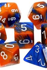 Chessex Chessex 7-Die set Gemini - Blue-Orange/White