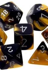 Chessex Chessex 7-Die set Gemini - Black-Gold/Silver
